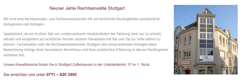 NJR Rechtsanwaltskanzlei - Fachanwalt aus 70327 Großmarkt (Stuttgart), Leinfelden-Echterdingen, Ditzingen, Kornwestheim, Ostfildern, Filderstadt, Esslingen (Neckar) und Korntal-Münchingen, Fellbach, Gerlingen